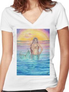 Song of the ocean mermaid by Renee Lavoie Women's Fitted V-Neck T-Shirt