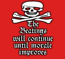 Pirate, Morale, Skull & Crossbones, Buccaneers, WHITE on RED Unisex T-Shirt