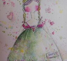 Sweet Girl watercolor by ursula wollenberg