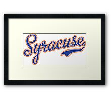 Syracuse Script Blue  Framed Print
