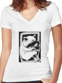 raccoon in black and white Women's Fitted V-Neck T-Shirt