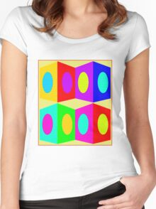 """""""PSYCHEDELIC BLOCKS"""" 3D Whimsical Print Women's Fitted Scoop T-Shirt"""