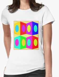 """""""PSYCHEDELIC BLOCKS"""" 3D Whimsical Print Womens Fitted T-Shirt"""