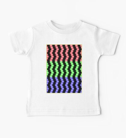 """ABSTRACT 3D BLOCKS"" Psychedelic Print Baby Tee"