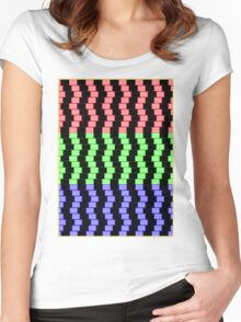 """""""ABSTRACT 3D BLOCKS"""" Psychedelic Print Women's Fitted Scoop T-Shirt"""
