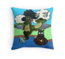 Crocodile's Day in the Sun Throw Pillow