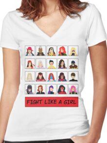 Fight Like A (Marvel) Girl. Women's Fitted V-Neck T-Shirt