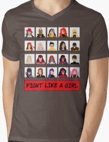 Fight Like A (Marvel) Girl. Mens V-Neck T-Shirt