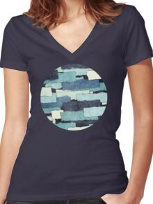 Layers of Colors Pattern Women's Fitted V-Neck T-Shirt