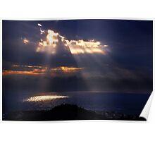 Natural spotlights at the Messenian Gulf Poster