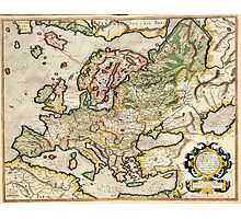 Vintage Map of Europe (1596) Photographic Print