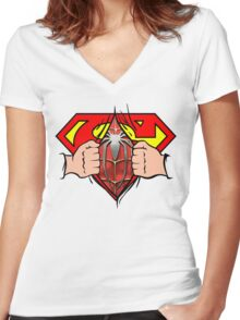 Superman is spiderman Women's Fitted V-Neck T-Shirt
