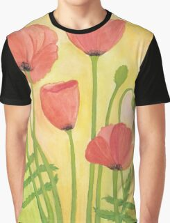 Red Poppies ~ Watercolor Painting Graphic T-Shirt