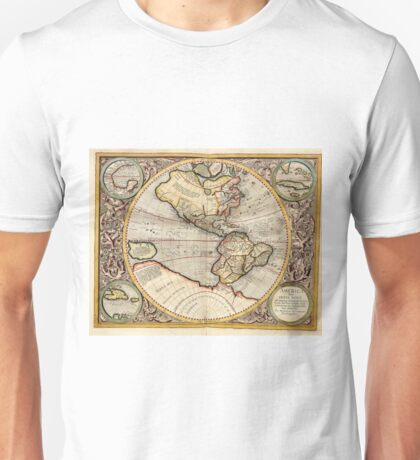 Vintage Map of The Western Hemisphere (1596) Unisex T-Shirt