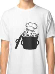 topf koch kochen grillen grill meister chef schürze kochmütze wender gabel essen lecker kind baby süßer kleiner niedlicher igel  Classic T-Shirt