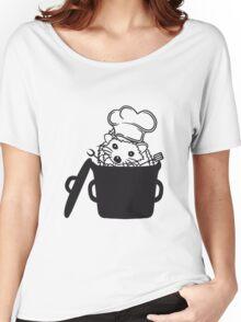 topf koch kochen grillen grill meister chef schürze kochmütze wender gabel essen lecker kind baby süßer kleiner niedlicher igel  Women's Relaxed Fit T-Shirt