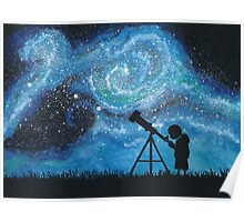 Observing the Universe ~ Watercolor Painting Poster