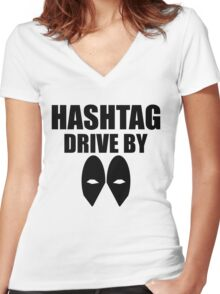 HASHTAG DRIVE BY Women's Fitted V-Neck T-Shirt