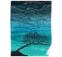 Cloudy I ~ Watercolor tree painting Poster