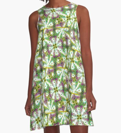 Neo Noveau Style Floral Pattern in Cold Tones  A-Line Dress