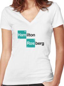 Team Hamilton Rosberg (white T's) Women's Fitted V-Neck T-Shirt