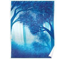 Blue Forest ~ Watercolor Painting Poster