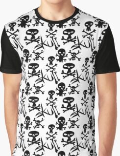 skull and bones tiled text Graphic T-Shirt