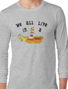 Yellow Submarine The Beatles Song Lyrics 60s Rock Music Long Sleeve T-Shirt