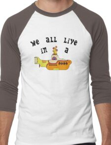 Yellow Submarine The Beatles Song Lyrics 60s Rock Music Men's Baseball ¾ T-Shirt
