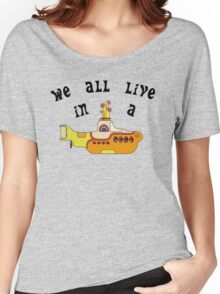 Yellow Submarine The Beatles Song Lyrics 60s Rock Music Women's Relaxed Fit T-Shirt