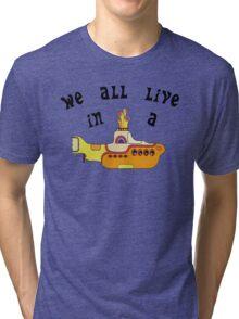 Yellow Submarine The Beatles Song Lyrics 60s Rock Music Tri-blend T-Shirt