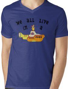 Yellow Submarine The Beatles Song Lyrics 60s Rock Music Mens V-Neck T-Shirt
