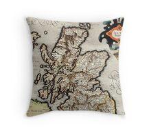 Vintage Map of Scotland (1596) Throw Pillow