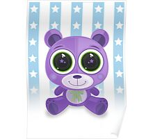 Teddy Bear - Star Eye Purple Poster