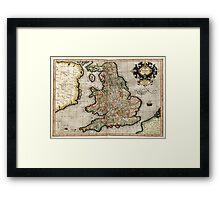 Vintage Map of England (1596) Framed Print