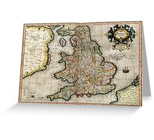Vintage Map of England (1596) Greeting Card