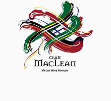 Clan MacLean - Prefer your gift on Black/White, let us know at info@tangledtartan.com Unisex T-Shirt