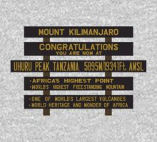 Mount Kilimanjaro, Uhuru Peak Sign, Tanzania One Piece - Short Sleeve