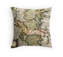 Vintage Map of Greece (1596) Throw Pillow