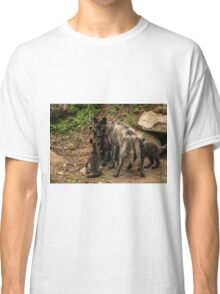 Black Wolf With Pups Classic T-Shirt