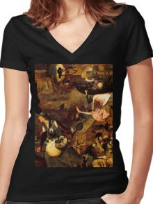 Mad Meg by Hieronymus Bosch Women's Fitted V-Neck T-Shirt