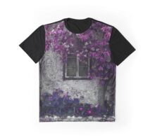 Purple and Radiant Orchid Vines on Old Stone Building  Graphic T-Shirt