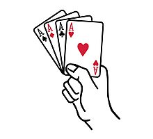 Poker cards aces hand Photographic Print