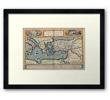 Vintage Map of The Mediterranean (1584) Framed Print
