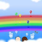 Rainbow Balloons - two lof bees by Josh Bush