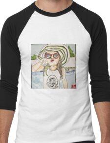 Girl with frog & shades Men's Baseball ¾ T-Shirt