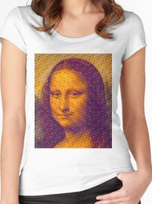 """""""WHIMSICAL MONA LISA"""" ABSTRACT PRINT Women's Fitted Scoop T-Shirt"""