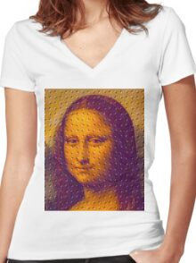 """WHIMSICAL MONA LISA"" ABSTRACT PRINT Women's Fitted V-Neck T-Shirt"