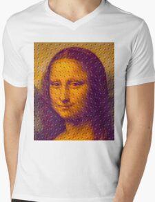"""WHIMSICAL MONA LISA"" ABSTRACT PRINT Mens V-Neck T-Shirt"