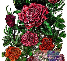 mixed roses drawing  by LoreLeft27